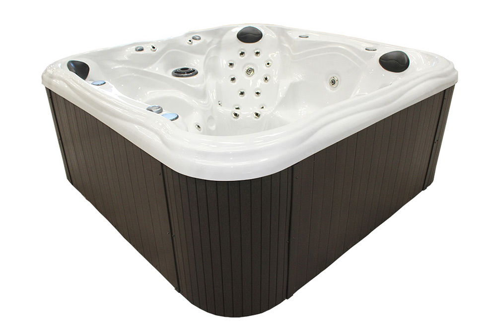 Clearwater Hot Tub With Glacier White Shell and Brown Side | All American Spa