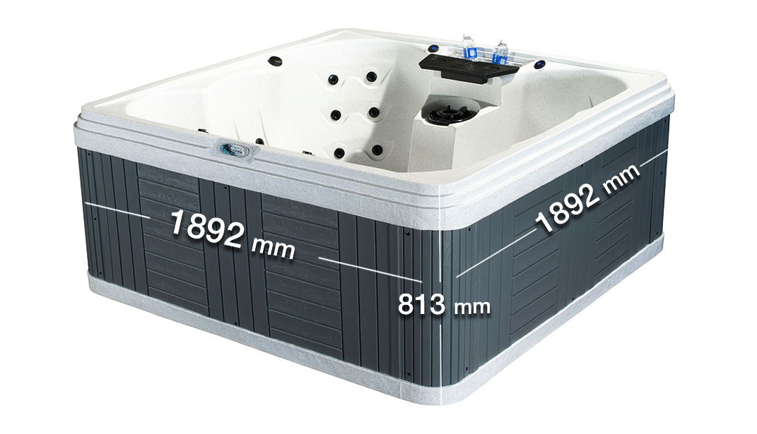 Palm Beach White 7 Person Hot Tub Dimension | All American Spa