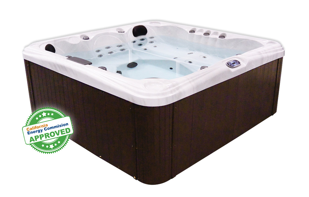 Malibu 3 Glacier White Shell With Dark Brown Side | All American Spa